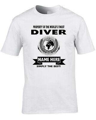 Diver Custom Men's T-Shirt World Best Diving Pool Ocean Swim Funny Gift (Best Mens Swim Shirts)