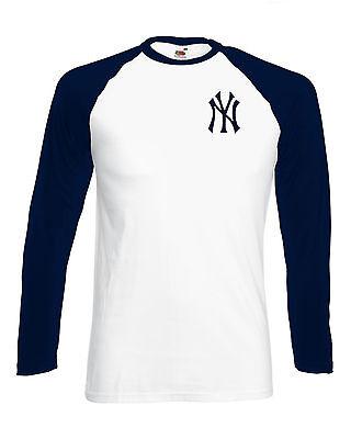 NY YANKEES BASEBALL T SHIRT Long sleeve FRONT&BACK logo cool hipster classic