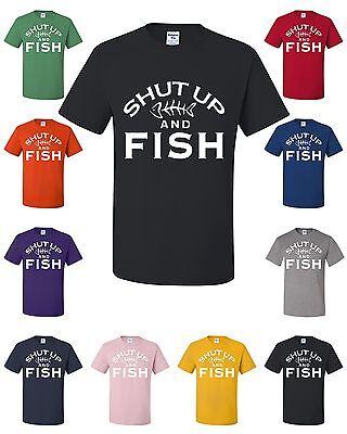 - Shut Up And Fish Funny T-Shirt Fishing Gift Tee Shirt Hobby Camping Bass Catfish