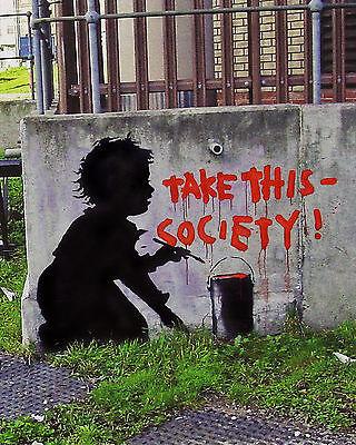 Banksy TWO canvas 8 x 10 Prints graffiti Take this Society & Think Tank Lovers