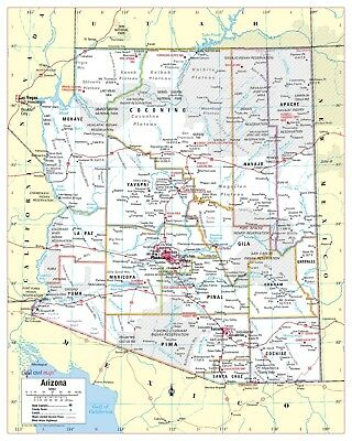 Cool Owl Maps Arizona State Wall Map Poster - Paper 24