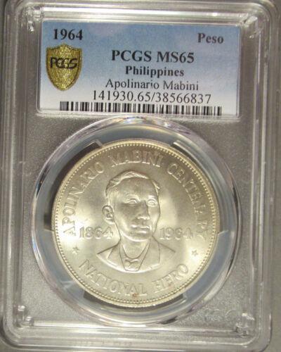 1964 Philippines Silver One Peso (1 P) Apolinario Mabini, PCGS MS 65