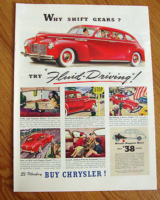 1940 Chrysler Ad  Why Shift Gears ? Try Fluid-Driving!