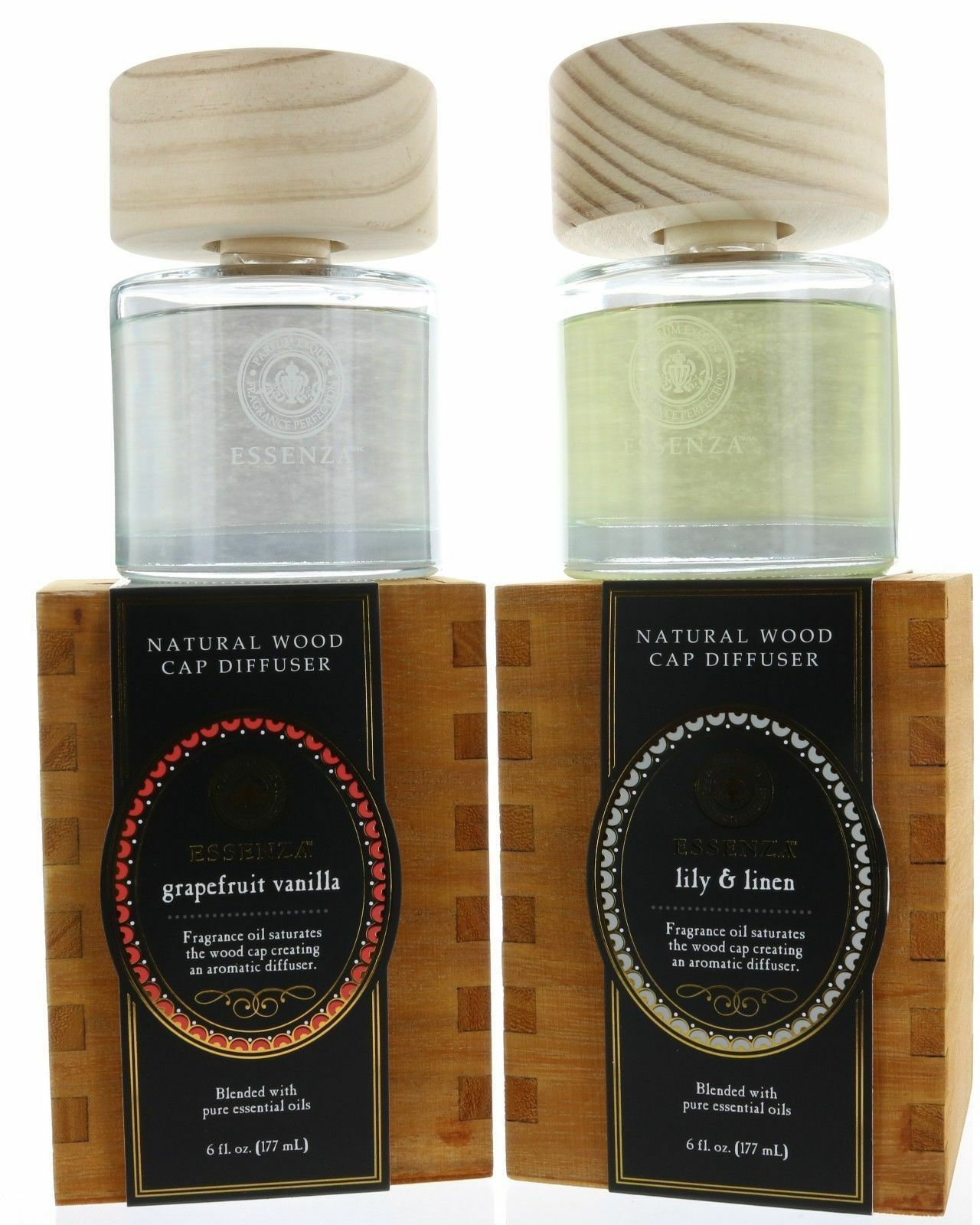 Essenza Natural Wood Cap Reed Diffuser, Blended with Pure Es