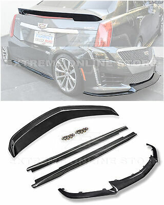 For 16-19 Cadillac CTS-V CARBON FIBER Package Front Lip Side Skirts Rear Spoiler