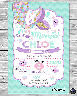 8x LITTLE MERMAID INVITATION INVITE 1ST FIRST BIRTHDAY PARTY SUPPLIES POOL OCEAN ()