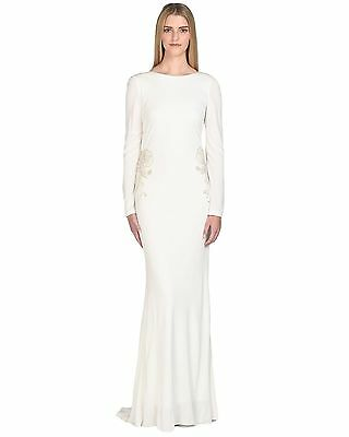 Badgley Mischka Ivory Jersey Beaded Hip Long Sleeve Evening Gown $890 NEW (Badgley Mischka Long Sleeve Jersey Beaded Gown)
