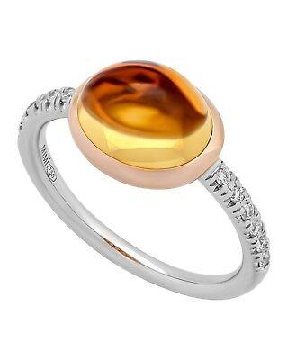 Mimi Milano 18k Rose und Weißgold Citrin und Diamanten Ring (Rose Gold Und Weißgold Ringe)