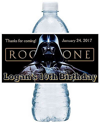 20 ~ STAR WARS ROGUE ONE DARTH VADER BIRTHDAY PARTY FAVORS WATER BOTTLE LABELS