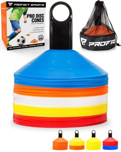 50 Multi-color Disc Cone Soccer Football Field Training Equipment Team Sport