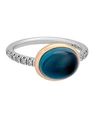 Mimi Milano 18k Rose und Weiss Gold London Blau Topas und Diamanten Ring (Rose Gold Und Weißgold Ringe)