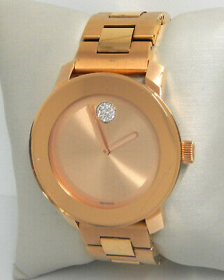 MOVADO BOLD CRYSTAL DOT ROSE GOLD TONE 36MM LADIES WATCH 3600086  $695.00