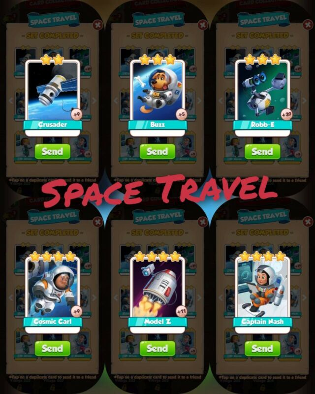 coin master cards Space Travel set 1X