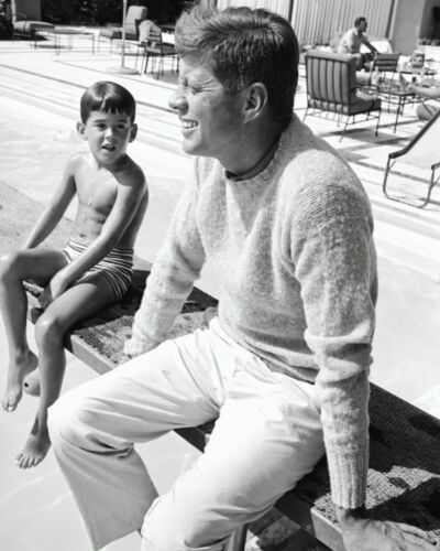 JOHN F. KENNEDY SITS ON A DIVING BOARD AT A POOL IN 1960 - 8X10 PHOTO (ZY-259)