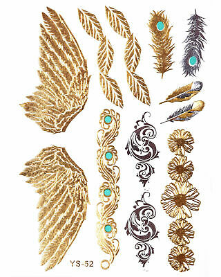 GOLD FLASH Temporary Tattoos Flügel Federn Ornamente Sommer Goldtattoo  YS 52