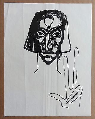 Ernst Fuchs: Der Zeuge (aus Kataklysmen) Original Linolschnitt von 1946