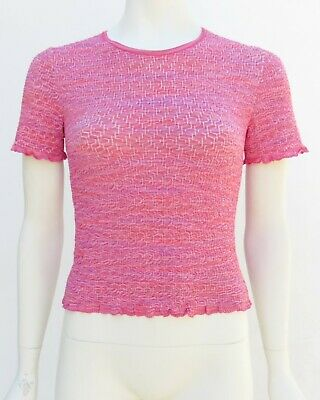 MISSONI Women's Cropped Stretch Top Shirt 42/8 Italy Red/Pink Vtg 90s M