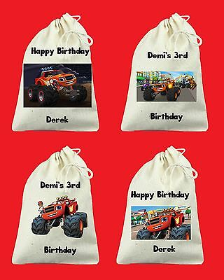 Set of 6 Custom Blaze and the Monster Machines Birthday Party Favor Bags
