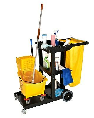 Alpine Industries 3 Shelf Janitorial Platform Cleaning Cart W Yellow Vinyl Bag