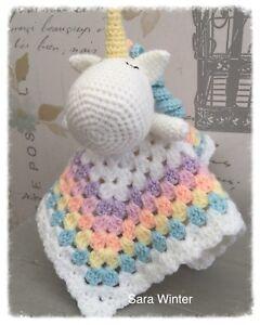 Handmade Crochet Pastel Unicorn Baby Snuggle/comforter/lovey Blanket