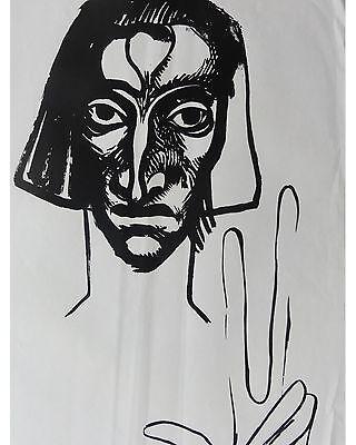 Ernst Fuchs: Der Zeuge -1(aus Kataklysmen) Original Linolschnitt von 1946
