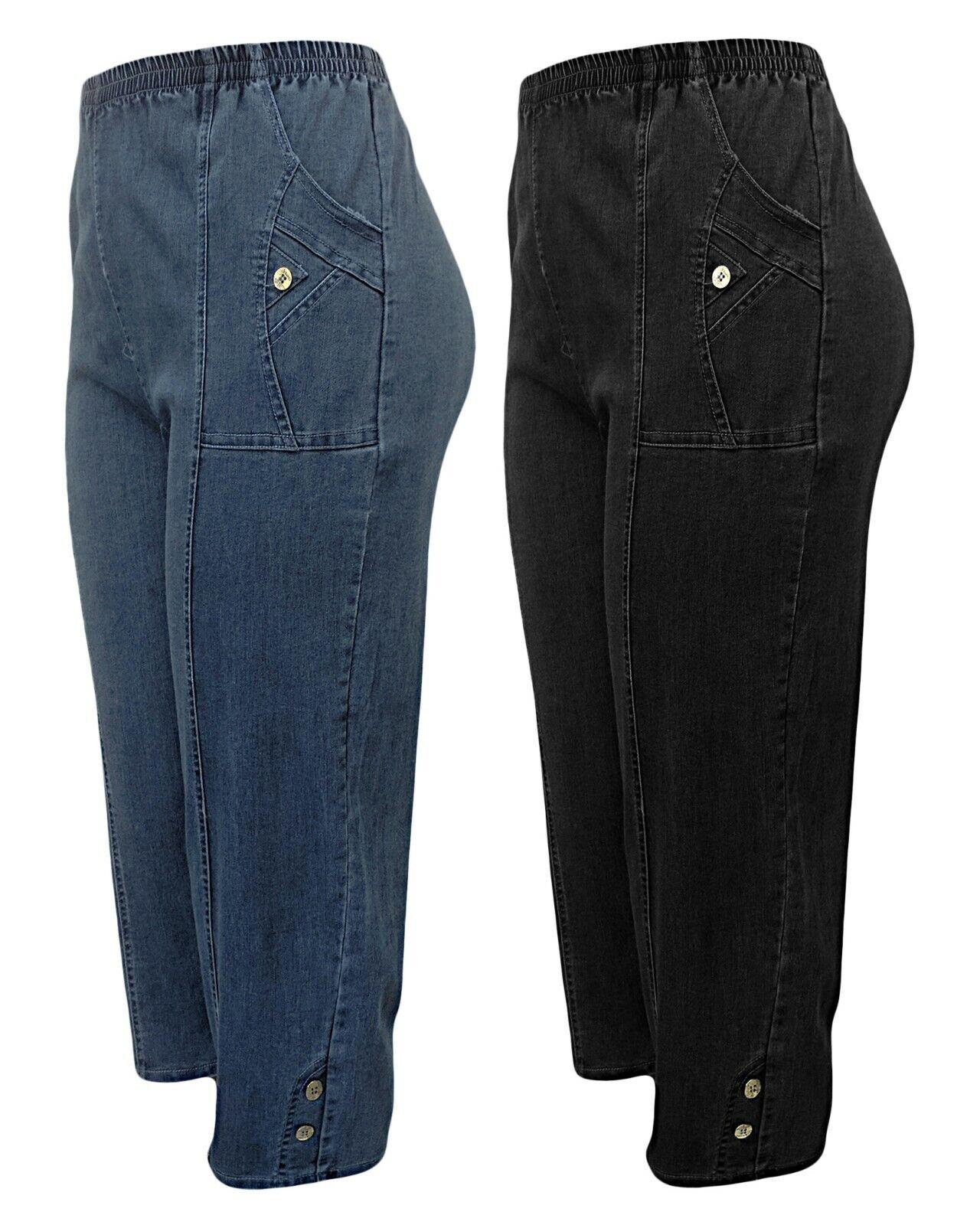 f9c08c261af83f kurze Damen Jeanshose Gummizug 7/8 Schlupfhose - Caprihose - locker  geschnitten*