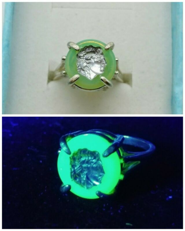 Sterling Uranium Glass Cameo Warrior Size 7 Ring 925 Silver Vaseline