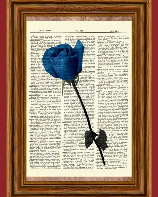 Blue Rose Dictionary Art Print Book Page Picture Wall Decor Flower Petal Garden