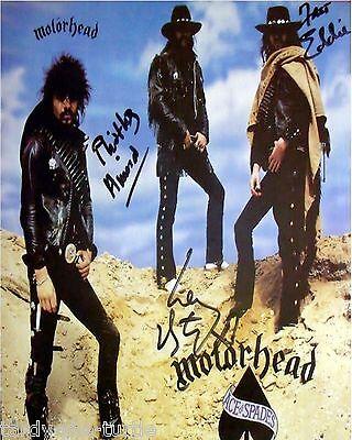 Mot Rhead  8 X 10 Autograph Reprint Ian  Lemmy  Kilmister  Fast  Eddie Clarke  1