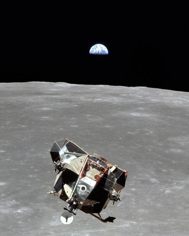 APOLLO 11 LUNAR MODULE-EARTH and MOON-NASA-8x10 STUNNING METALLIC PHOTO