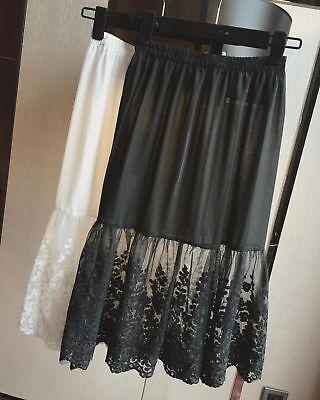 Lady Lace Slip Skirt Chiffon Extender Knee Length Underskirt Petticoat Black New ()