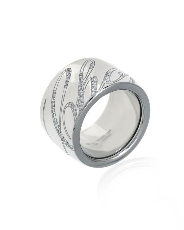 Chopard 18k White Gold Diamond Chopardissimo Ring Sz 6.5 826582-1209 $10200