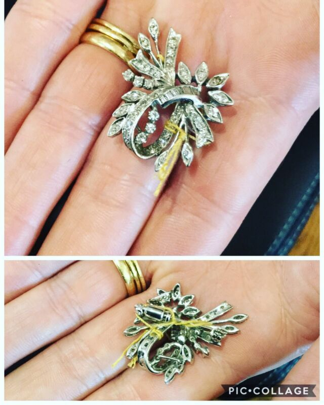 BEAUTIFUL ANTIQUE DIAMOND AND 14K WHITE GOLD PIN / PENDANT