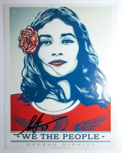 Shepard Fairey Signed We the People Defend Dignity 11x14 Photo Print Obey ACOA