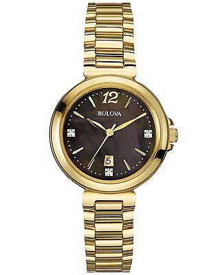 Bulova Women's 97P107 Diamond Accents Quartz Gold Tone 30mm Bracelet Watch