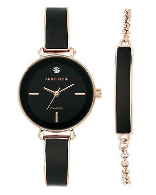 Anne Klein Women's Genuine Diamond Dial Bangle Watch with Bracelet Set,3620-BKST