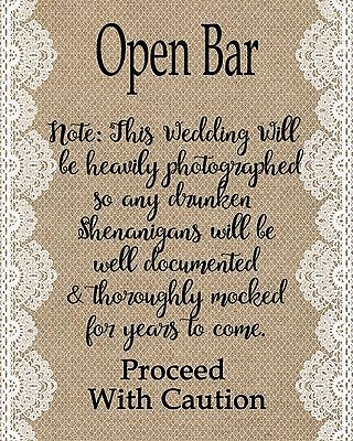 Rustic Style Open Bar Sign - Weddings Parties Showers - 8x10 Burlap style](Open Bar Wedding)
