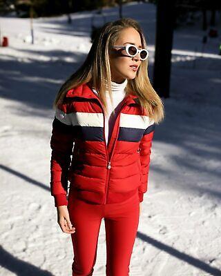 Perfect Moment Queenie Puffer Jacket in Red Rainbow Ski Down Medium $580