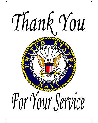 """US Navy Thank You For Your Service 10"""" x 14"""" Printed Fabric COTTON Quilt"""