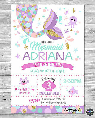 DIGITAL FILE LITTLE MERMAID INVITATION 1ST FIRST BIRTHDAY PARTY POOL OCEAN TAIL](Little Mermaid 1st Birthday Party)