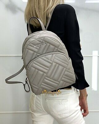 Pearl Gray Leather - MICHAEL KORS ABBEY MEDIUM BACKPACK LEATHER QUILTED PEARL GREY