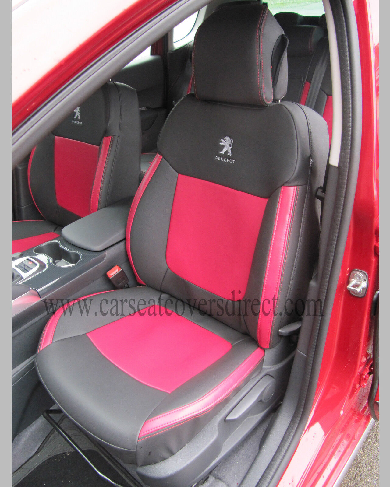 Luxury BEIGE//BLACK Leather Look Car Seat Covers Full Set Peugeot 2008