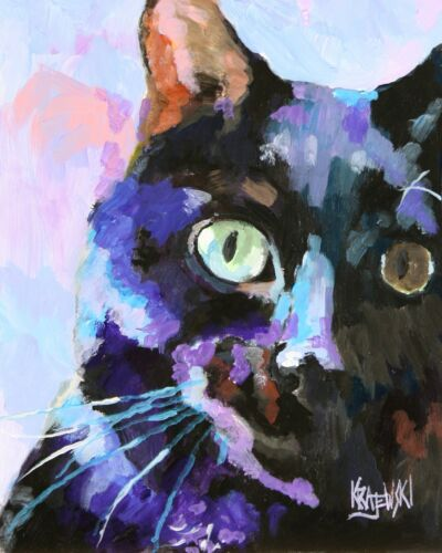 Black Cat Gifts | Cat Art Print from Painting | Poster, Picture, Mom, Dad 11x14