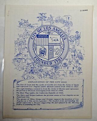 Los Angeles City Council Brochures City Seal 1961 History District Map LA