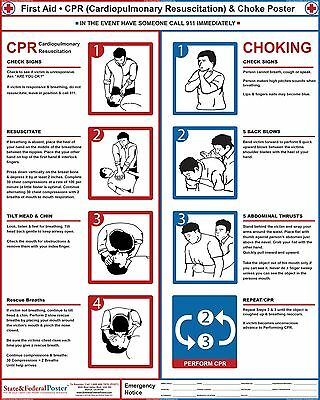 CPR Poster. Choke Poster, Restaurant and Hotel Safety Sign, First Aid.