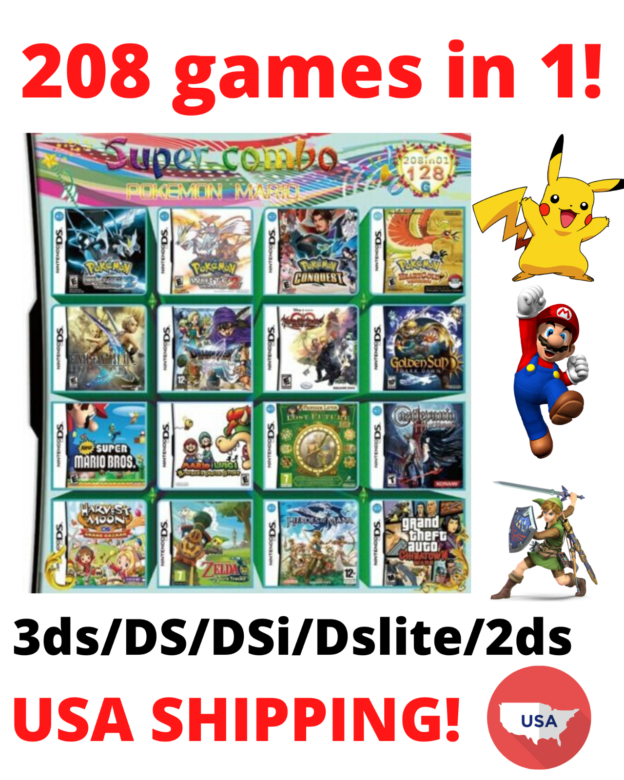 Soltekonline 208 In 1 Game Cartridge For Ds Lite Ndsi 3ds 2ds Xl