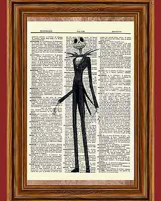 Jack Skellington Dictionary Art Print Book Picture Nightmare before Christmas
