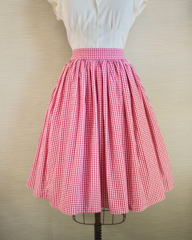 1950s 50s Vintage Rockabilly Pinup Girl Full Gathered Swing Skirt Gingham Circle