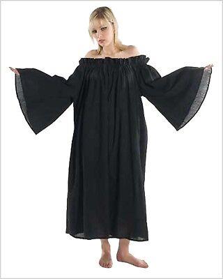 UNTERKLEID MITTELALTER Gewandung SCHWARZ für Kostüm Nachthemd 3216