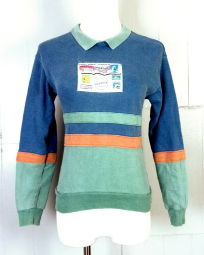 vtg 80s 90s CREDENTIALS Vaporwave Collar Colorblock Sweatshirt patch graphic YM
